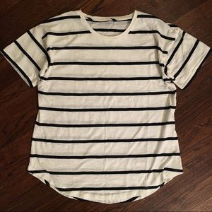Madewell cotton white + navy striped tee